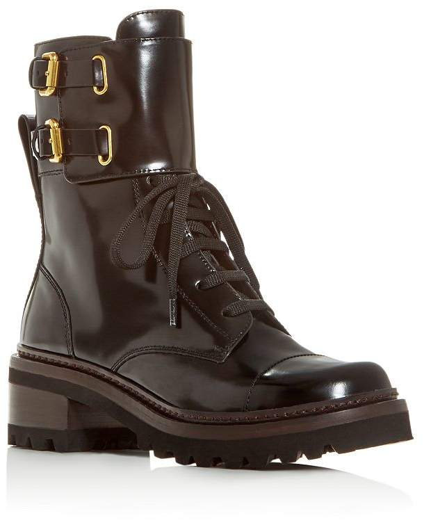 See by Chloe Women's Mallory Block-Heel Combat Boots