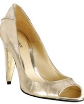 gold metallic leather peep toe pumps