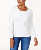Karen Scott Petite Cotton Long-Sleeve T-Shirt, Only at Macy's