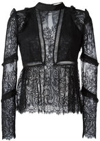 Self-Portrait lace panel blouse - women - Cotton/Polyamide/Polyester - 12