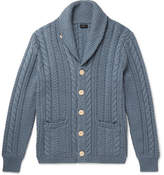 J.Crew Shawl-collar Cable-knit Cotton Cardigan - Blue
