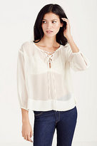 True Religion Lace Up Womens Peasant Top