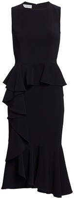 Michael Kors Asymmetric Cascade Ruffle Sheath Dress