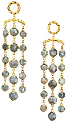 Nest 22K Goldplated & Pyrite Tassel Earrings