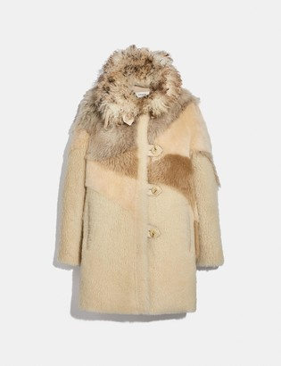 Coach Pieced Shearling Coat