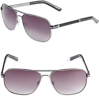Alfred Sung 60mm Mesh Trim Aviator Sunglasses