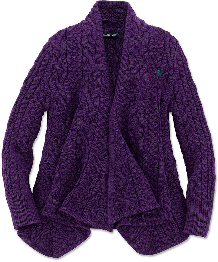 Ralph Lauren Sweater, Little Girls Aran Cable Cardigan