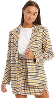 Miss Shop Roll Sleeve Check Blazer