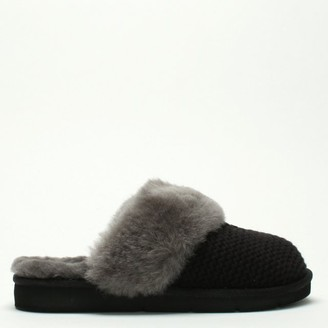UGG Cozy Knit Black Sheepskin Slippers