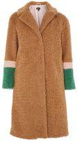 Topshop Colour block teddy coat