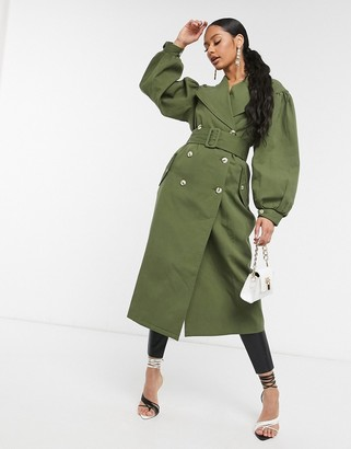 UNIQUE21 full sleeve trench coat in khaki
