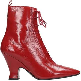 Marc Jacobs The Victorian High Heels Ankle Boots In Red Leather