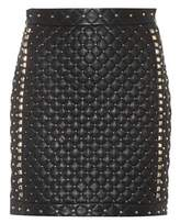 Balmain Studded leather mini skirt