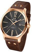TW Steel Slim Line Unisex Automatic Watch with Grey Dial Analogue Display and Brown Leather Strap TWA1312
