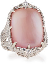 Judith Ripka Chantilly Rectangle Pink Mother-of-Pearl Ring, Size 7