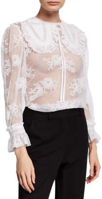 Miu Miu Round-Collar Lace Blouse