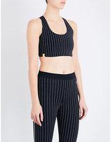 Monreal London Essential pinstriped stretch-jersey sports bra