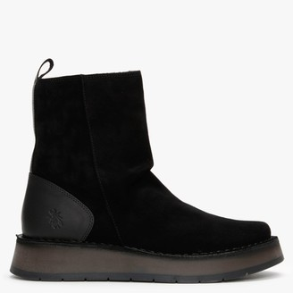 Fly London Reno Black Suede Ankle Boots