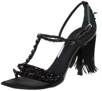 Louis Vuitton Black Satin Embellished Fringe Ankle Strap Sandals Size 40