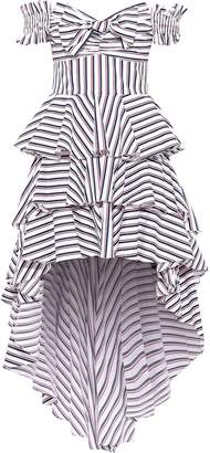 Caroline Constas Artemis Off-the-shoulder Tiered Striped Cotton-blend Poplin Dress