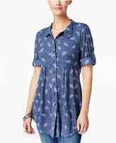 Style&Co. Style & Co Printed Roll-Tab Blouse, Only at Macy's