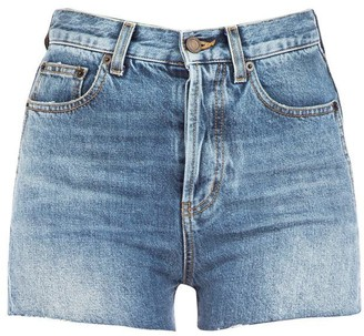 Saint Laurent Stonewashed Denim Shorts
