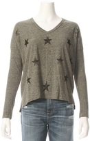 Sundry Star Print Long Sleeve V Neck Tee