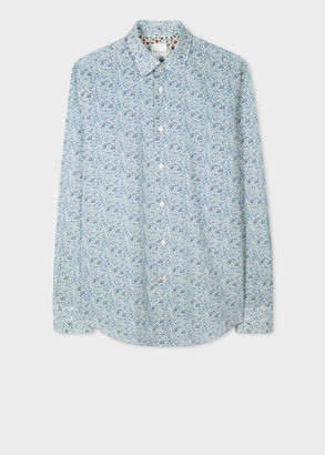 Paul Smith Men's Tailored-Fit Turquoise 'Liberty Floral' Print Shirt With 'Artist Stripe' Cuff Lining