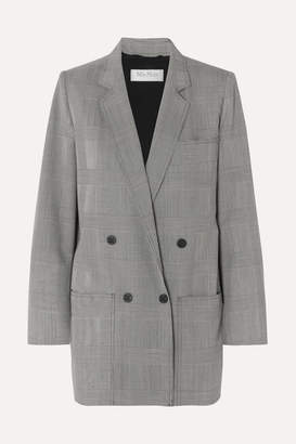 Max Mara Oxford Oversized Double-breasted Prince Of Wales Checked Wool Blazer - Gray