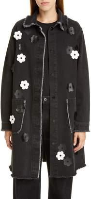 PASKAL clothes Floral Applique Denim Coat