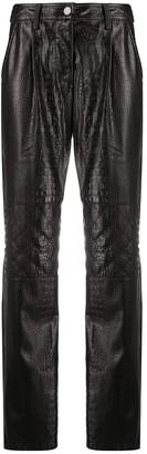 Koché Crocodile-Effect Straight Trousers