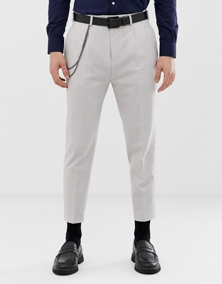 Twisted Tailor tapered pleated trouser in grey