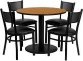 Flash Furniture 36-Inch Round Natural Laminate Table Set with 4 Grid Back Metal Chairs with Black Vinyl Seat