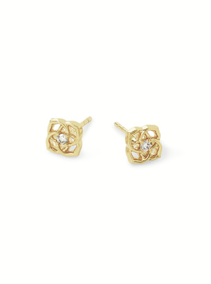 Kendra Scott Fleur 14k Small Studs In White Diamond