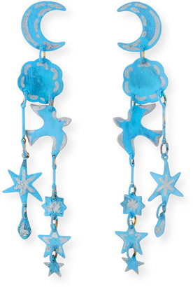 We Dream In Colour Dreamer Moon & Star Dangle Earrings, Blue