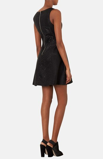 Topshop 'Mylo' Quilted Faux Leather Skater Dress