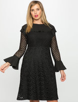 ELOQUII Plus Size Ruffle and Lace Detail Dress