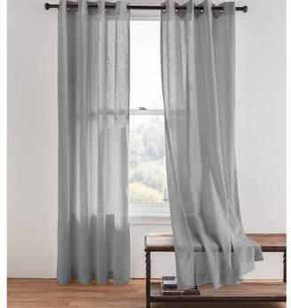 Plow & Hearth Double Width Sheer Linen Single Window Curtain Panel With Grommets, Gray