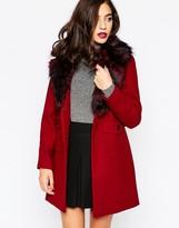 Warehouse Premium Faux Fur Collar Coat