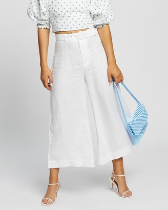 Faithfull The Brand Women's White Cropped Pants - Lissandra Wide-Leg Pants - Size L at The Iconic
