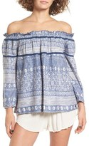 Roxy Beach Fossil Print Off the Shoulder Top