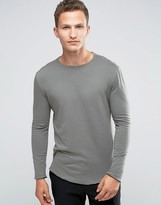 Selected Raw Edge Long Sleeve T-Shirt