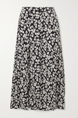 Reformation Zoe Floral-print Crepe Midi Skirt - Blue
