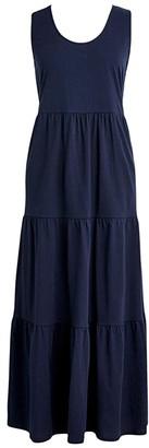 J.Crew Broken-In Tiered Maxi Dress (Navy) Women's Clothing