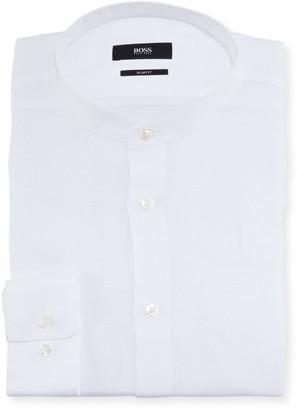 BOSS Men's Slim Fit Linen Mandarin-Collar Dress Shirt