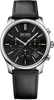 BOSS Men's Chronograph Time One Black Leather Strap Watch 42mm 1513430