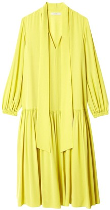 Tibi Heavy Silk Drop Waist Dress in Lime Yellow