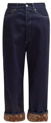 Golden Goose Breezy Bandana Trimmed Wide Leg Jeans - Womens - Indigo