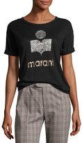 Etoile Isabel Marant Koldi Crew Neck Short-Sleeve Tee, Black