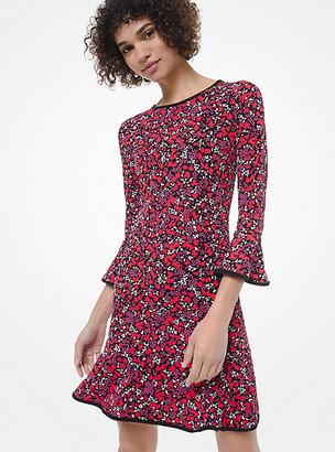 Michael Kors Woodland Leaf-Print Matte-Jersey Flounce Dress